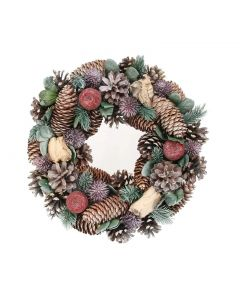 Green and Lilac Cone/Apple Wreath