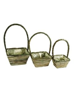 16cm Square Seagrass Basket Planters (24 Pack)