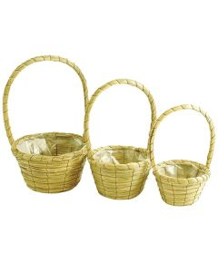 17cm Round Seagrass Basket Planters (24 Pack)