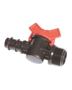 """16mm x ¾"""" BSP Barbed Male Ball Valve - Barbed Fitting"""
