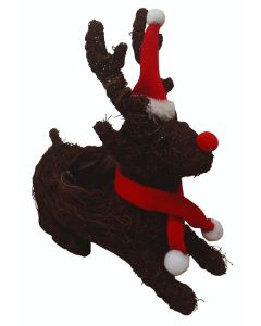 Brushwood Reindeer Planter with Red Hat & Scarf (Pack of 40)