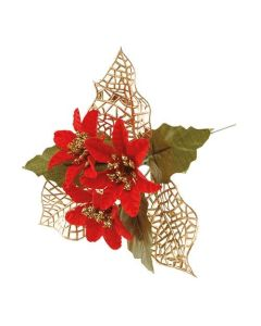 Red Poinsettia and Leaf Picks (Pack of 50)