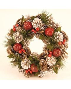 Cone and Red Apple Wreath