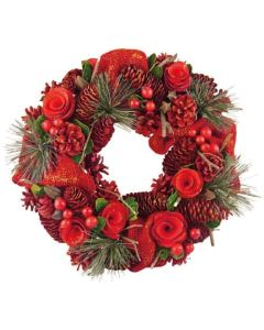 """13"""" Red Cone, Rose & Berry Wreath (2 Pack)"""