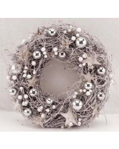 """12"""" Silver Star and Bauble Wreath (2 Pack)"""