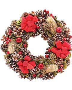 """14"""" Red Ribbon Wreath (2 Pack)"""
