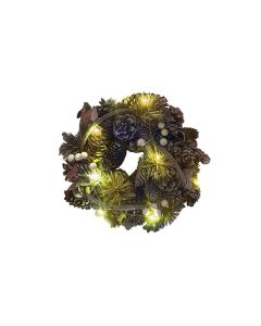 Christmas Wreath Ring with LED Lights - 25cm