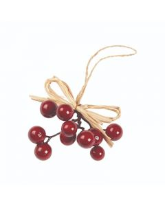 Hanging Berries on Raffia - (Pack of 6) 13cm Red (12)