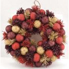 Red Tinsel & Bauble Wreath